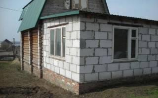 Пристройка из газобетона к деревянному дому